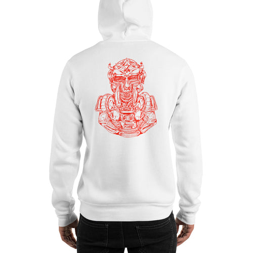 Scribbles - Cool mask or robot overlord? UNISEX ONE COLOR RED LOGO PULLOVER HOODIE