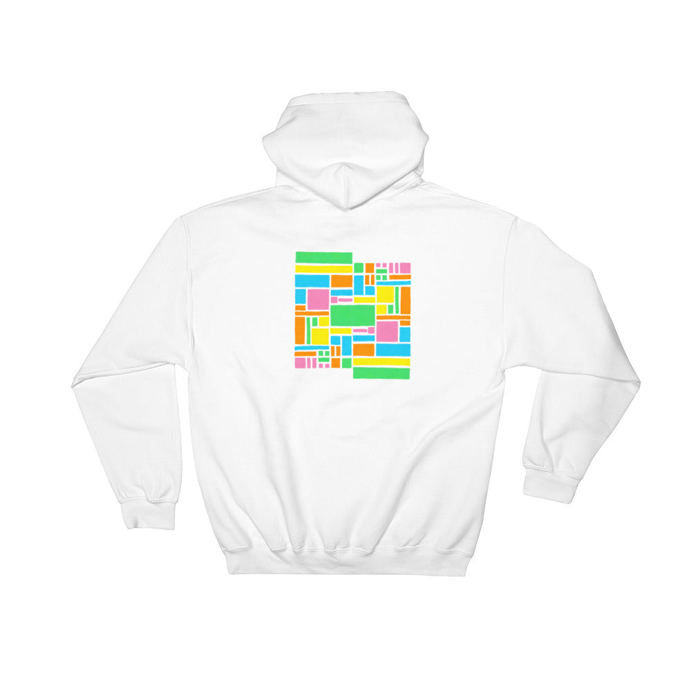 Boxes - 5 - 1 - WHITE GRAPHIC ART PULLOVER HOODIE Hoodie- Doodles by Wessel