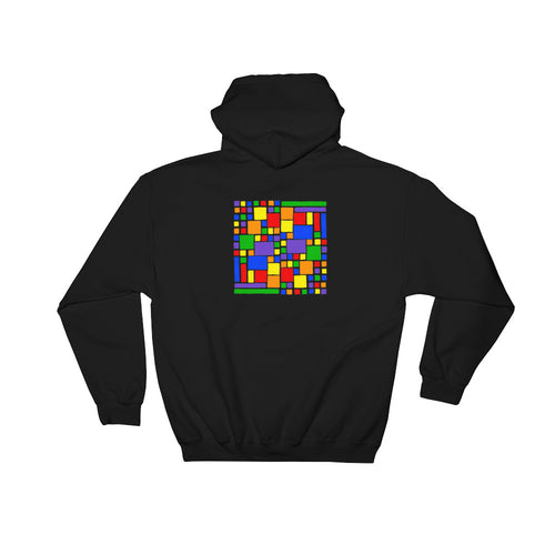 Boxes - 5 - 2 - BLACK GRAPHIC ART PULLOVER HOODIE Hoodie- Doodles by Wessel
