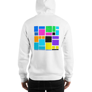 Boxes Series 3 - 1 - WHITE BACK PRINT PULLOVER HOODIE Hoodie- Doodles by Wessel