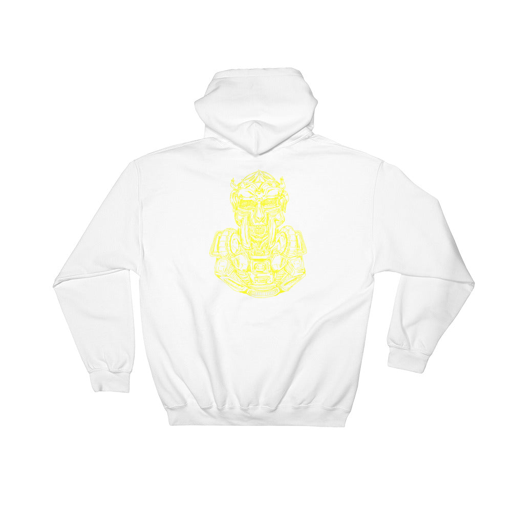 Scribbles - Cool mask or robot overlord? UNISEX YELLOW LOGO PULL OVER HOODIE Hoodie- Doodles by Wessel