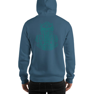 Scribbles - Cool mask or robot overlord? UNISEX ONE COLOR AQUA LOGO PULLOVER HOODIE Hoodie- Doodles by Wessel