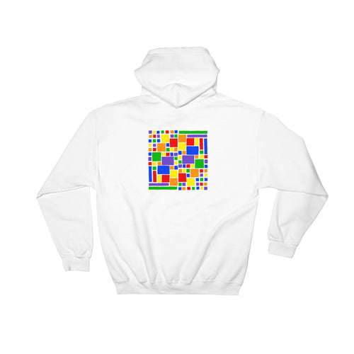 Boxes - 5 - 2 - WHITE GRAPHIC ART PULLOVER HOODIE Hoodie- Doodles by Wessel