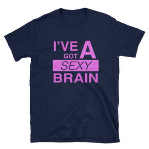 Wordmash - I've Got a Sexy Brain NAVY GRAPHIC ART T SHIRT t-shirt- Doodles by Wessel