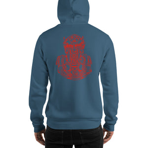 Scribbles - Cool mask or robot overlord? UNISEX ONE COLOR RED LOGO PULLOVER HOODIE Hoodie- Doodles by Wessel