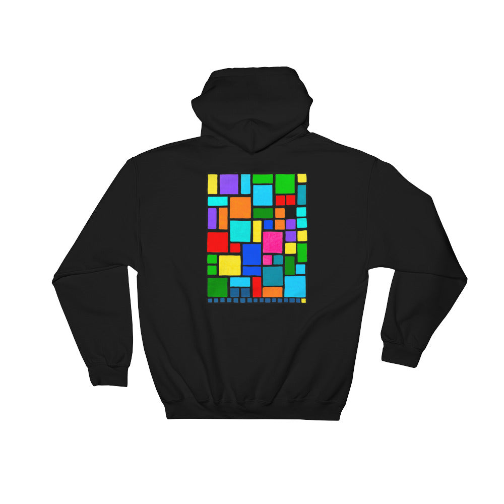 Boxes Series 2 - 1 - BLACK BACK PRINT GRAPHIC PULLOVER HOODIE