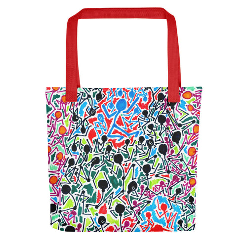 The Stick Figures 5 - Split - GRAPHIC ART TOTE Tote- Doodles by Wessel