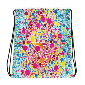 The Stick Figures 2 - Flow to the positive - GRAPHIC ART DRAWSTRING BAG draw string bag- Doodles by Wessel