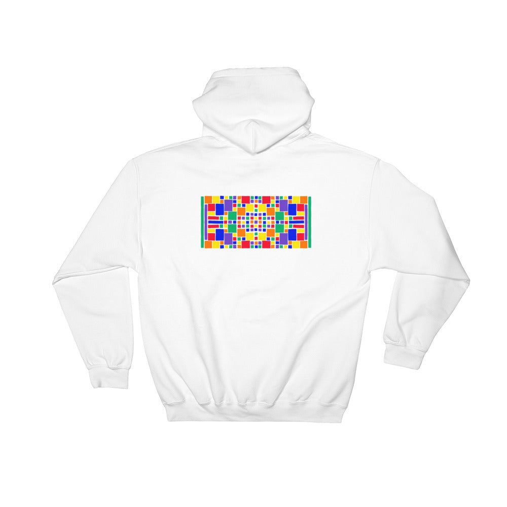 Boxes - 5 - 3 - WHITE GRAPHIC ART PULLOVER HOODIE Hoodie- Doodles by Wessel