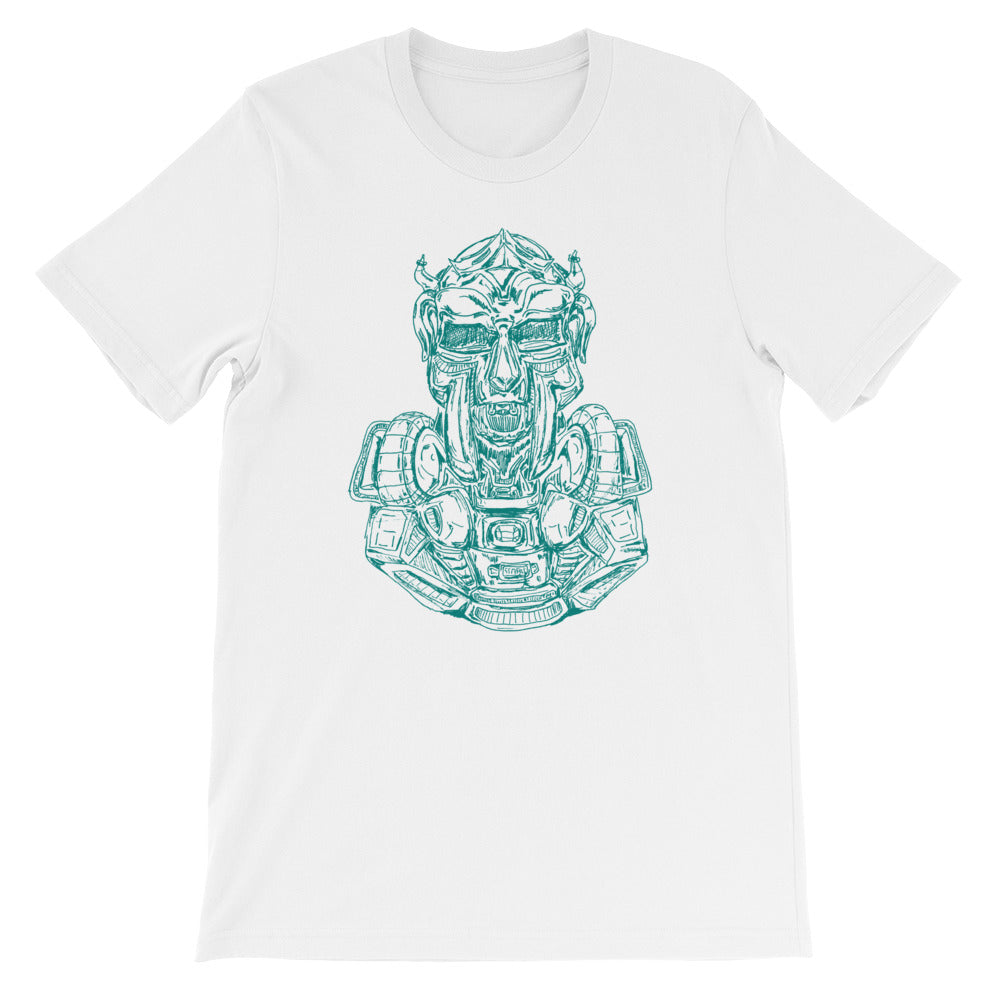 Scribbles - Cool mask or robot overlord? UNISEX DARK AQUA LOGO T-SHIRT