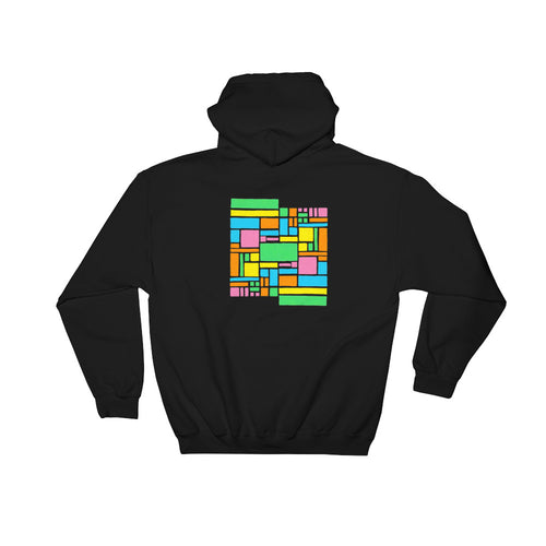 Boxes - 5 - 1 - BLACK GRAPHIC ART PULLOVER HOODIE Hoodie- Doodles by Wessel