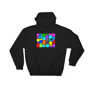 Boxes Series 4 - 1 - BLACK BACK PRINT PULLOVER HOODIE Hoodie- Doodles by Wessel