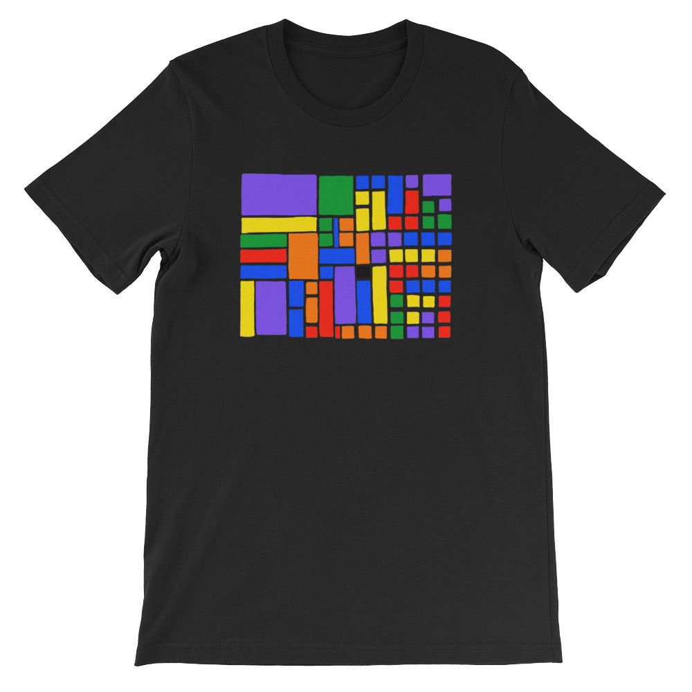 Boxes - 6 - 1 - BLACK GRAPHIC ART T-SHIRT t-shirt- Doodles by Wessel
