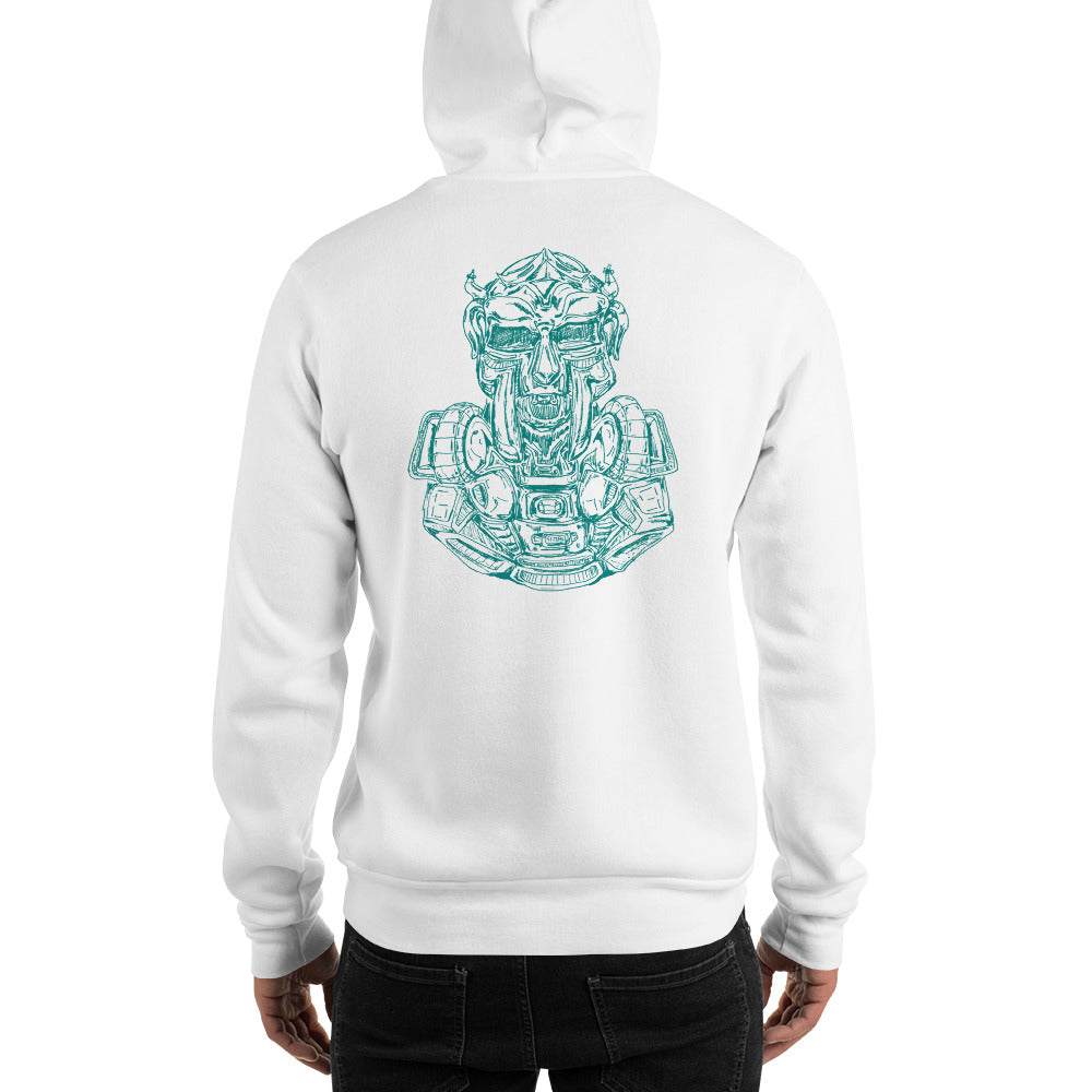 Scribbles - Cool mask or robot overlord? UNISEX ONE COLOR AQUA LOGO PULLOVER HOODIE