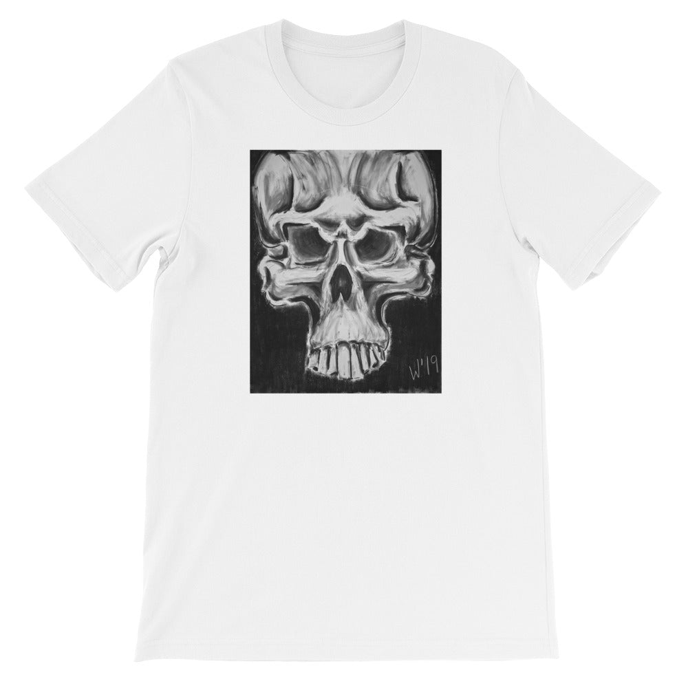 Skulls 1 WHITE CUSTOM ART T-SHIRT t-shirt- Doodles by Wessel