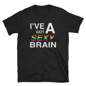Wordmash - I've Got a Sexy Brain BLACK GRAPHIC ART T SHIRT t-shirt- Doodles by Wessel