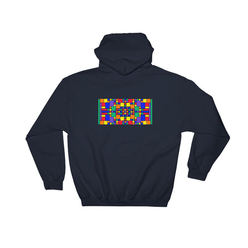 Boxes - 5 - 3 - NAVY GRAPHIC ART PULLOVER HOODIE Hoodie- Doodles by Wessel