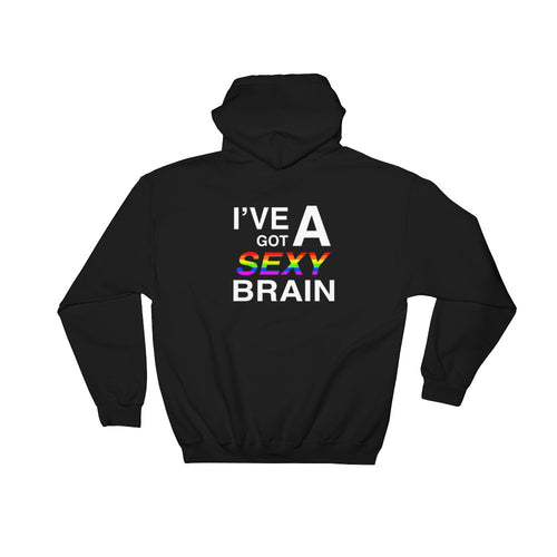 Wordmash - I've Got a Sexy Brain BLACK GRAPHIC ART PULLOVER HOODIE Hoodie- Doodles by Wessel