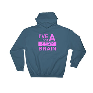 Wordmash - I've Got a Sexy Brain INDIGO GRAPHIC ART PULLOVER HOODIE