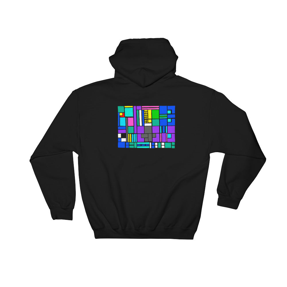 Boxes Series 4 - 5 - BLACK GRAPHIC ART PULLOVER HOODIE Hoodie- Doodles by Wessel