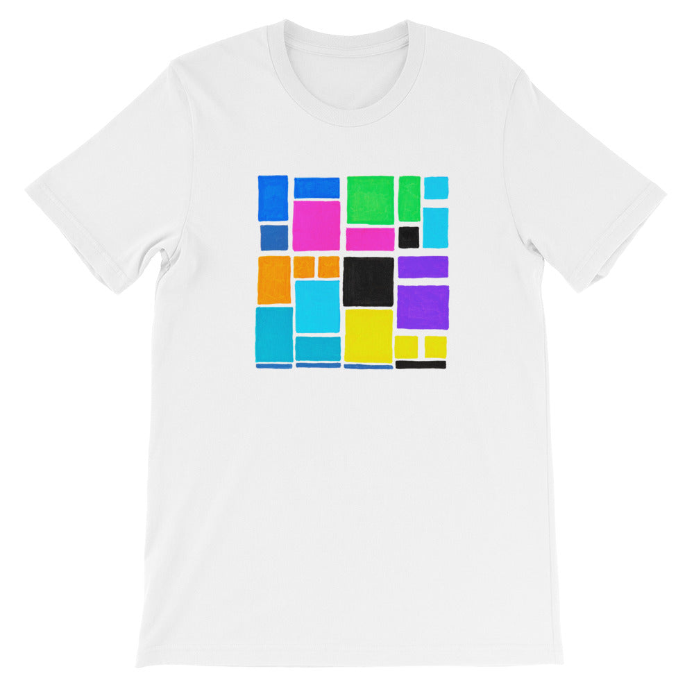 Boxes Series 3 - 1 - WHITE GRAPHIC ART T-SHIRT t-shirt- Doodles by Wessel