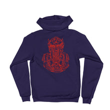 Load image into Gallery viewer, Scribbles - Cool mask or robot overlord? UNISEX RED LOGO ZIP-UP HOODIE