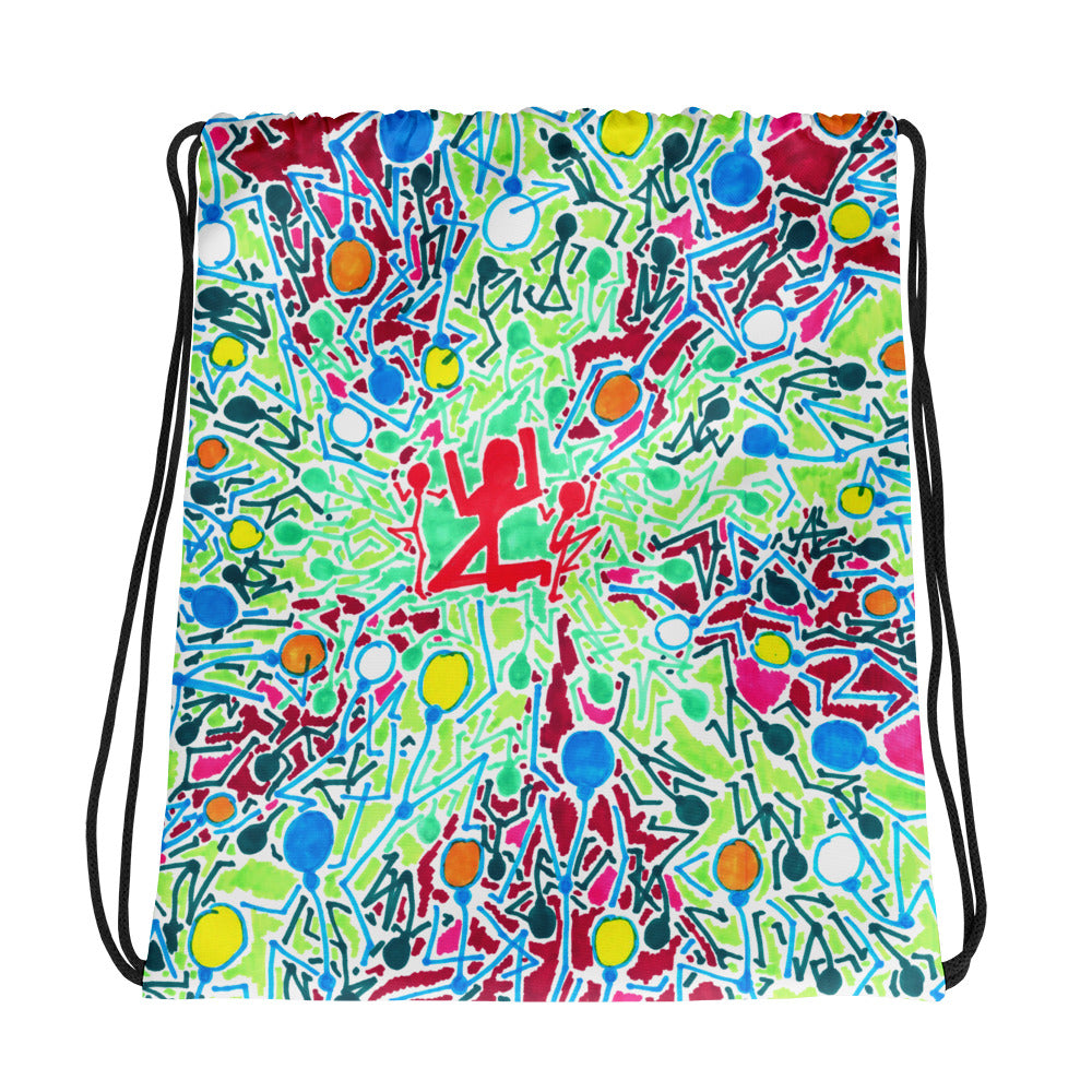 The Stick Figures 3 - GRAPHIC ART DRAWSTRING BAG draw string bag- Doodles by Wessel