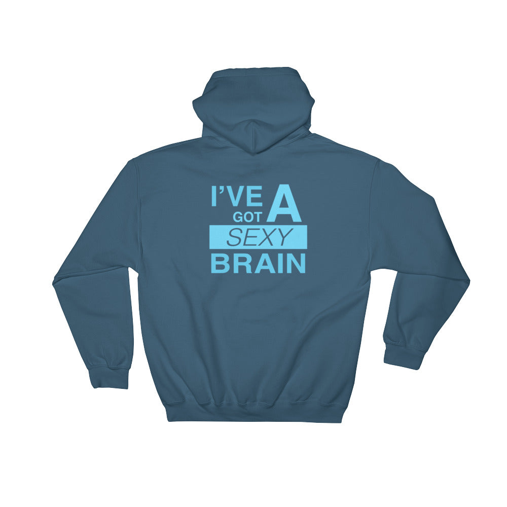 Wordmash - I've Got a Sexy Brain INDIGO GRAPHIC ART PULLOVER HOODIE Hoodie- Doodles by Wessel