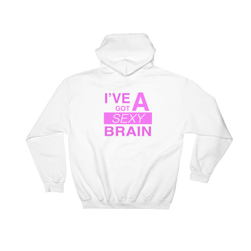 Wordmash - I've Got a Sexy Brain WHITE GRAPHIC ART PULLOVER HOODIE Hoodie- Doodles by Wessel