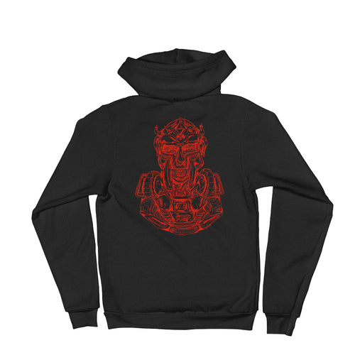 Scribbles - Cool mask or robot overlord? UNISEX RED LOGO ZIP-UP HOODIE Hoodie- Doodles by Wessel