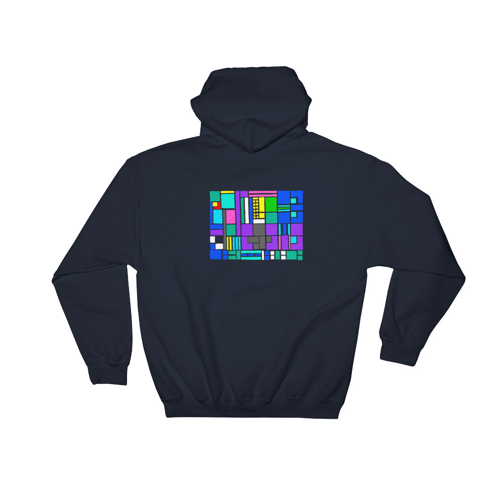 Boxes Series 4 - 5 - NAVY GRAPHIC ART PULLOVER HOODIE Hoodie- Doodles by Wessel