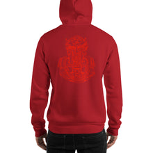 Load image into Gallery viewer, Scribbles - Cool mask or robot overlord? UNISEX ONE COLOR RED LOGO PULLOVER HOODIE Hoodie- Doodles by Wessel