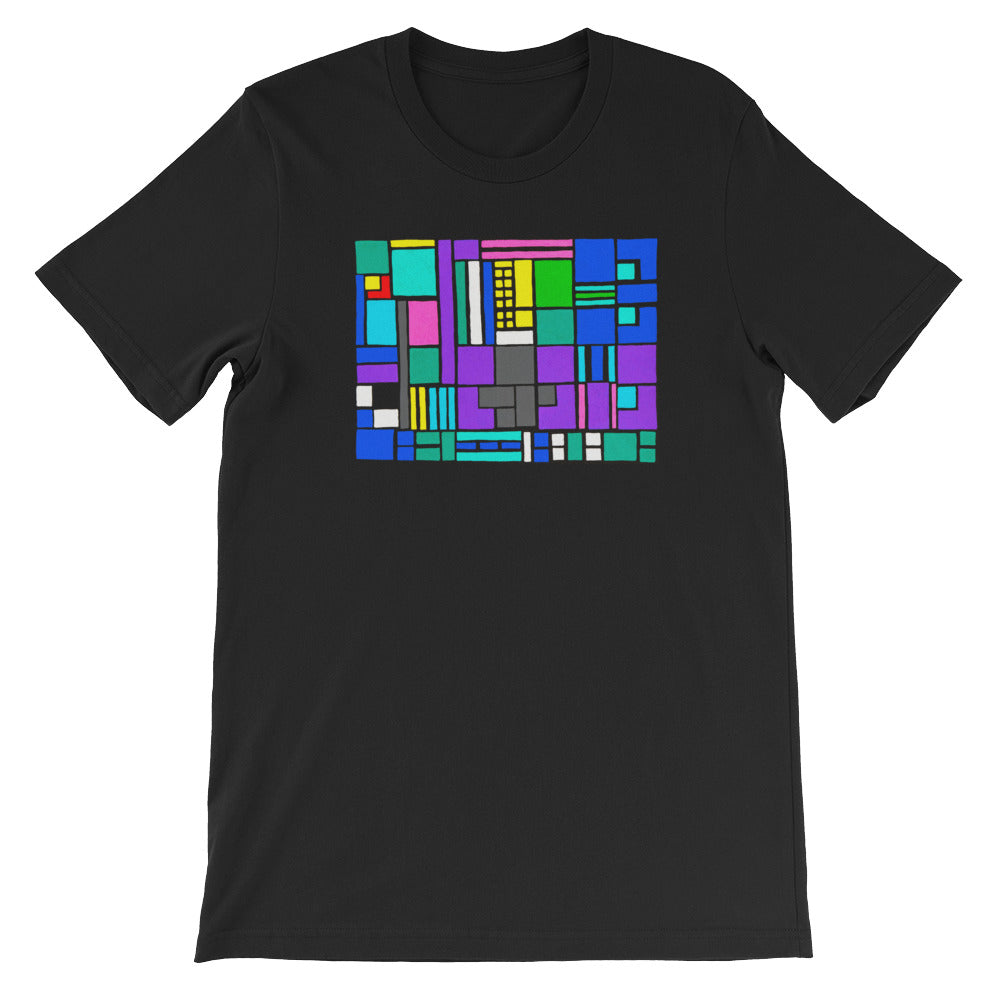 Boxes Series  4- 5 - BLACK GRAPHIC ART T-SHIRT t-shirt- Doodles by Wessel