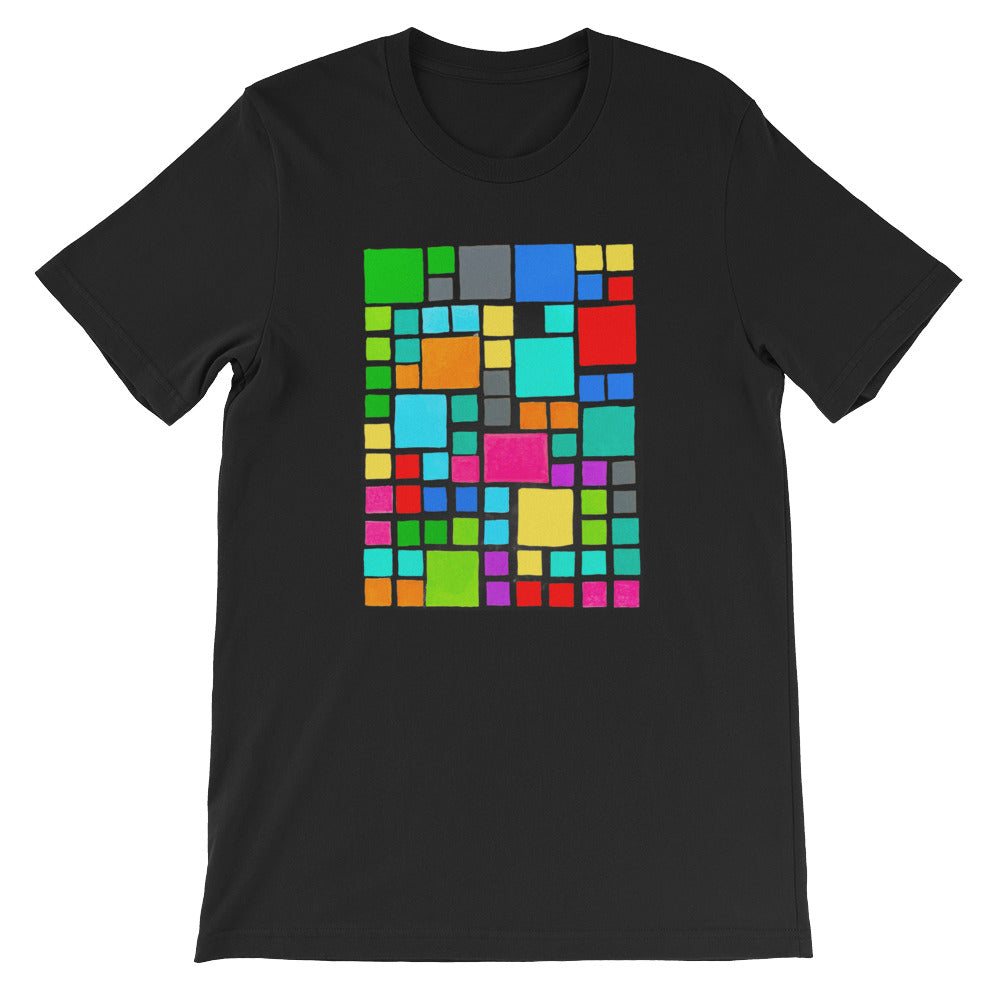 Boxes Series 2 - 3 - BLACK GRAPHIC ART T-SHIRT t-shirt- Doodles by Wessel