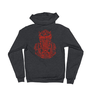 Scribbles - Cool mask or robot overlord? UNISEX RED LOGO ZIP-UP HOODIE