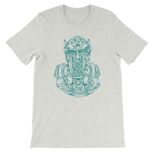 Scribbles - Cool mask or robot overlord? UNISEX DARK AQUA LOGO T-SHIRT t-shirt- Doodles by Wessel