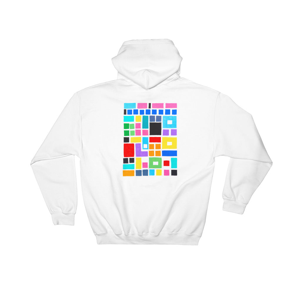 Boxes Series 2 - 4 - WHITE BACK PRINT PULLOVER HOODIE Hoodie- Doodles by Wessel