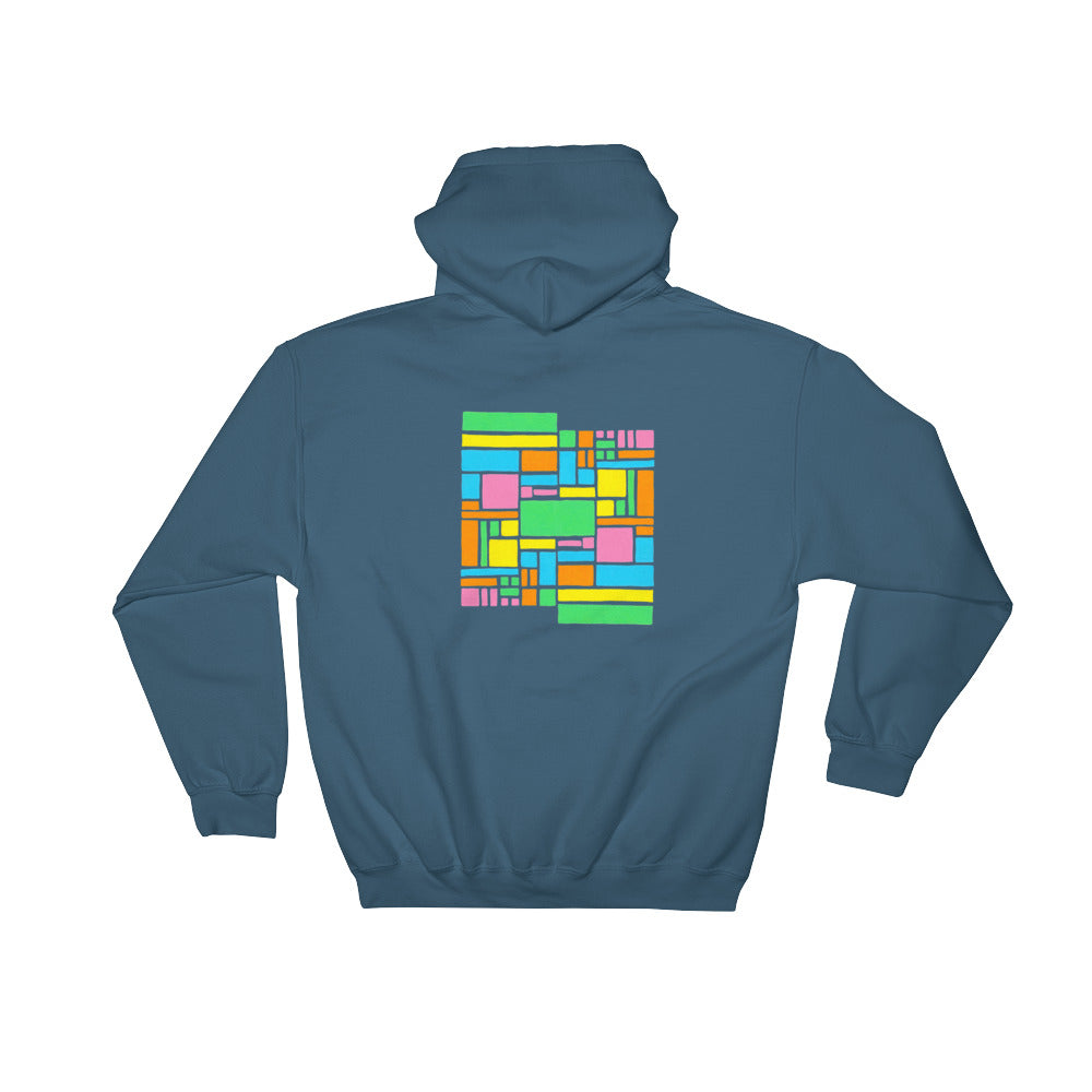 Boxes - 5 - 1 - INDIGO GRAPHIC ART PULLOVER HOODIE Hoodie- Doodles by Wessel