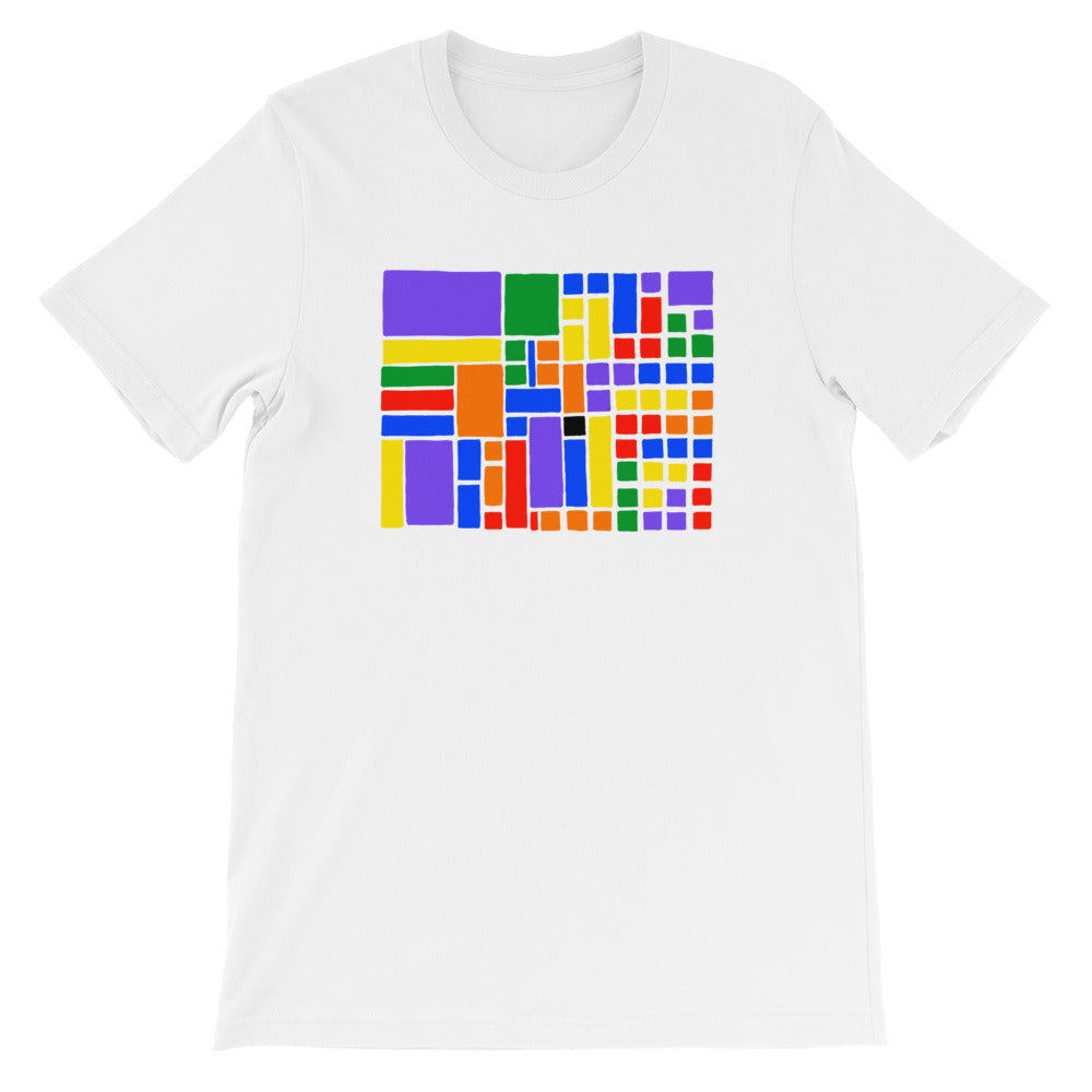 Boxes - 6 - 1 - WHITE GRAPHIC ART T-SHIRT t-shirt- Doodles by Wessel