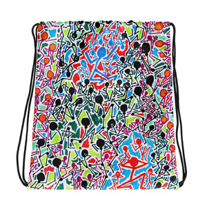 The Stick Figures 5 - Split - GRAPHIC ART DRAWSTRING BAG draw string bag- Doodles by Wessel