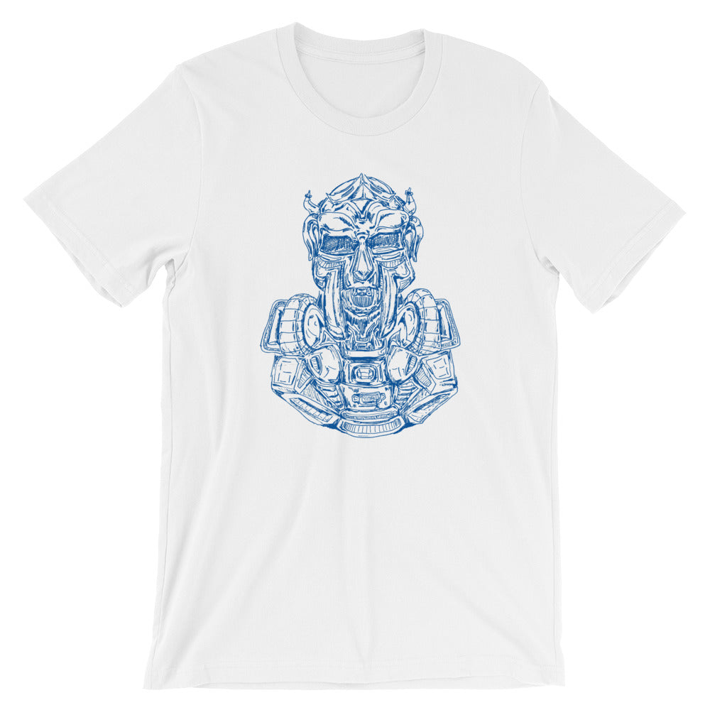 Scribbles - Cool mask or robot overlord? UNISEX DARK BLUE LOGO T-SHIRT t-shirt- Doodles by Wessel