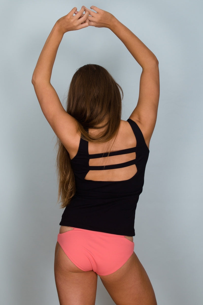 Back view of Bells Tank Top in Nero (black) by Hamec Spirit