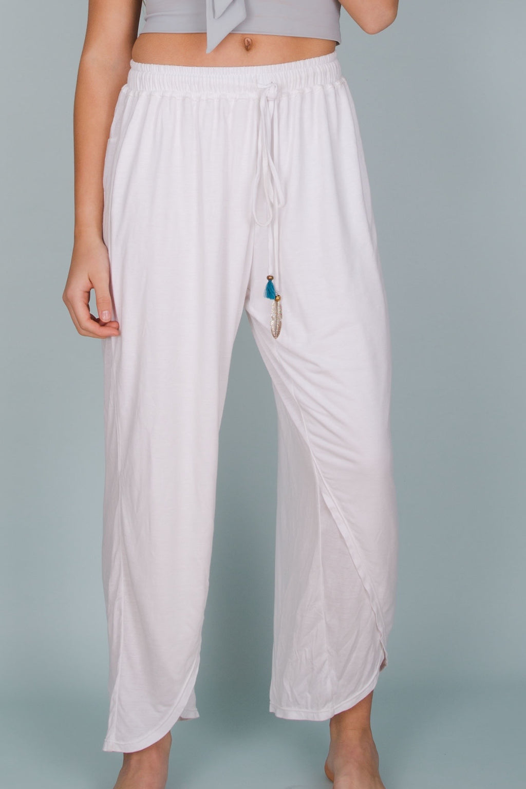 Front View Loose fitting white Ellis Pants by Hamec Spirit