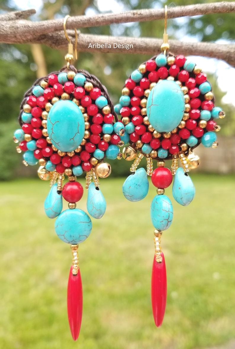 Turquiose Stone Crochet Wax Cord Bead Earrings - Red Blue