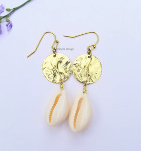 Cowrie Shell Hammered Brass Circle Earrings