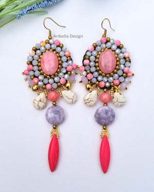 Stone Crochet Wax Cord Bead Earrings - Pink