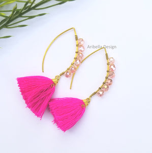Oval Hoop Beaded Tassel Earrings - Pink