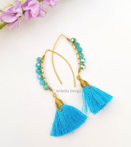 Oval Hoop Beaded Tassel Earrings - Blue