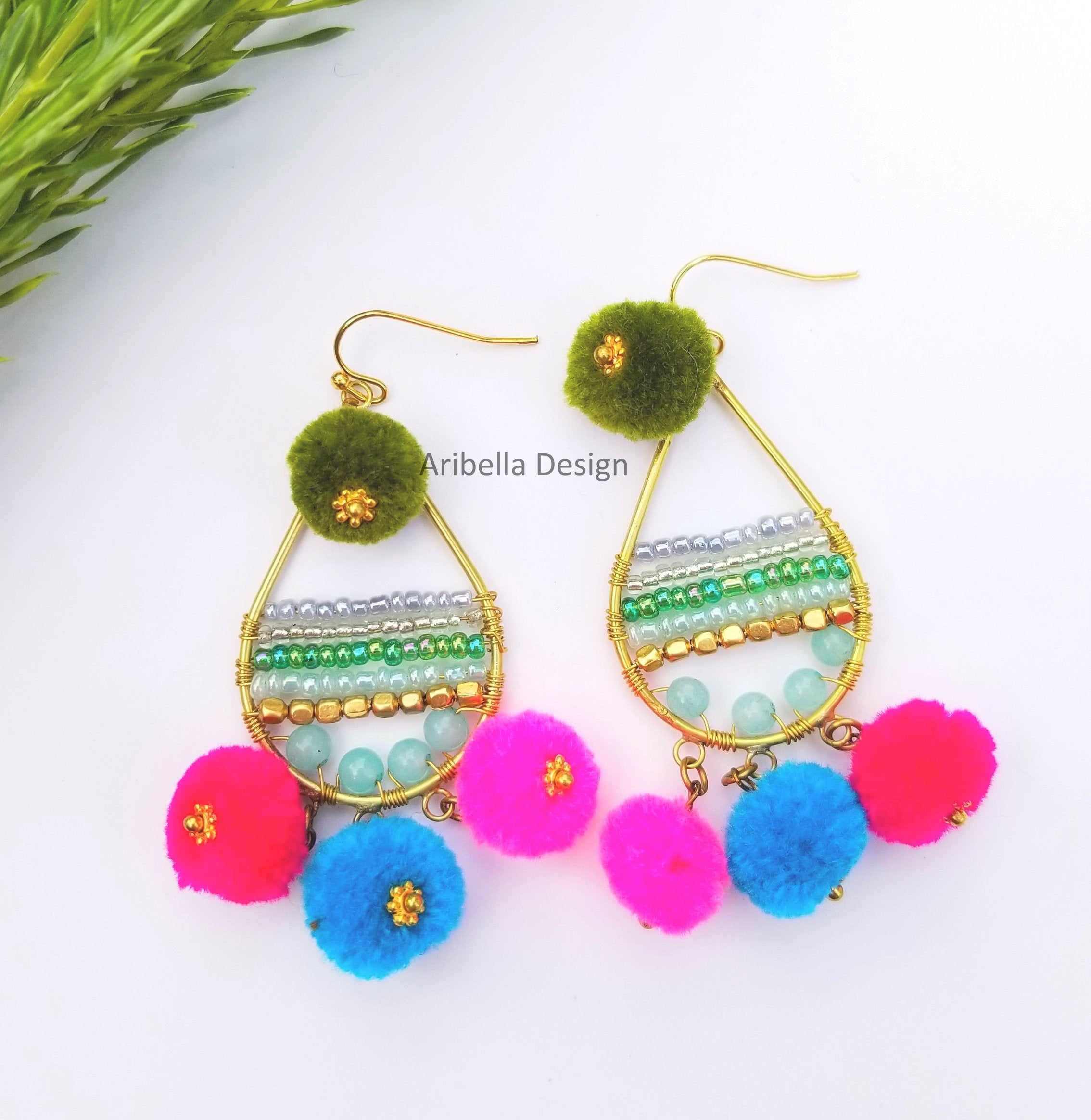 Teardrop Beaded Wire Pom Pom Earrings - Green Blue Pink Red