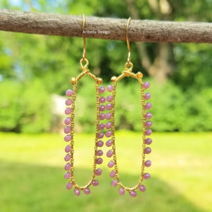 Glass Beaded Oval Wire Earrings - Light Amethyst